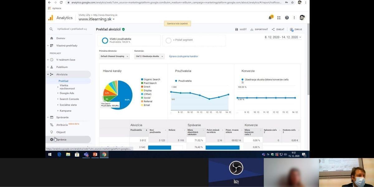 pohľad na obrazovku rozhrania Google Analytics