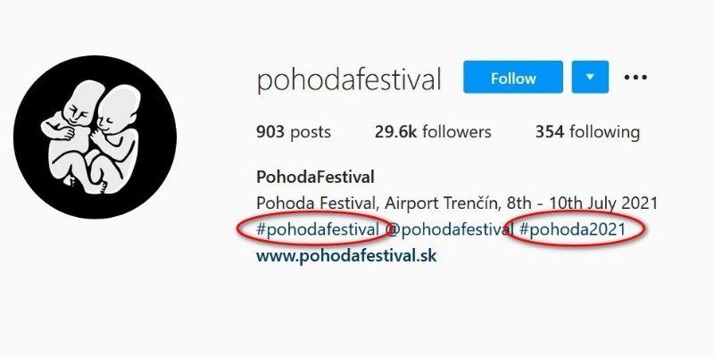 príklady hashtagov v praxi - pohodafestival