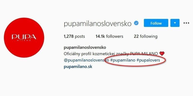 príklady hashtagov v praxi - pupamilanoslovensko