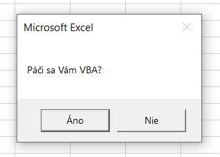 MsgBOX v Exceli pomocou makra
