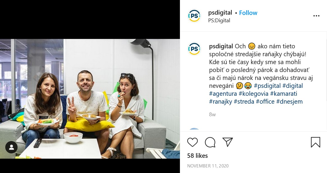 Ukážka príspevku ukazujúceho život vo firme, firma PS Digital - o raňajkách vo firme