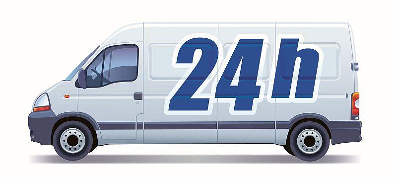 Ako nastaviť cenu dopravy pre e-shop - ilustračný obrázok - dodávka s nápisom 24 h