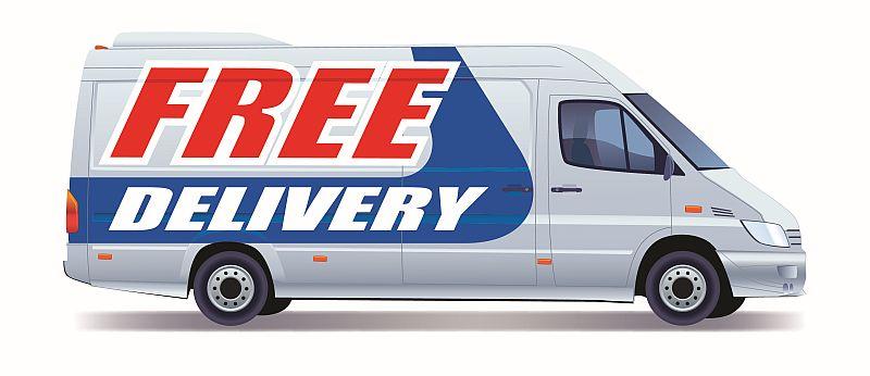 Ako nastaviť cenu dopravy pre e-shop - ilustračný obrázok - dodávka s nápisom Free delivery (doprava zadarmo)