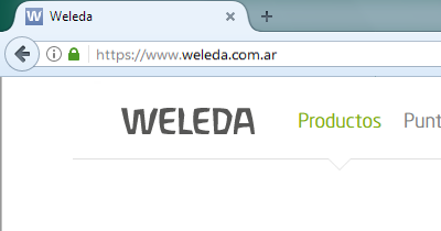 ukážka faviconu na karte stránky v prehliadači - weleda argentina