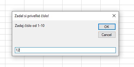 priklad makra v Exceli - nesprávne zadaná hodnota a odpoveď
