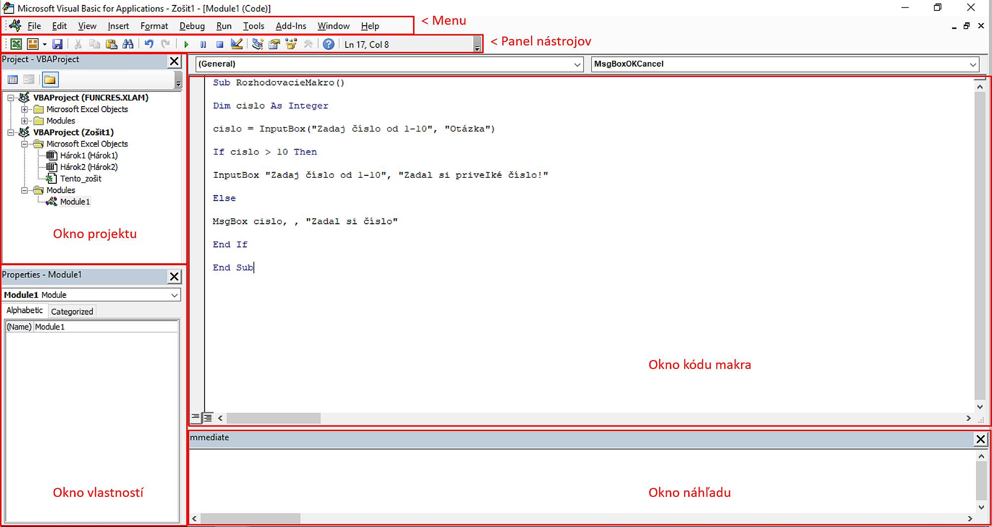pracovné okno VBA v Exceli