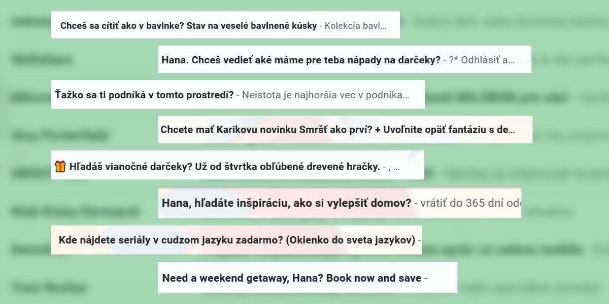Príklady otázok v predmete e-mailu