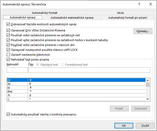 nastavenie automatických opráv vo Worde - záložka Automatické opravy