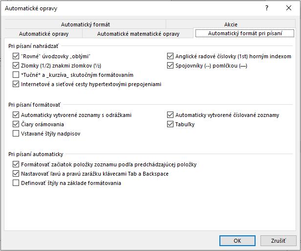 nastavenie automatických opráv vo Worde - záložka Automatický formát pri písaní