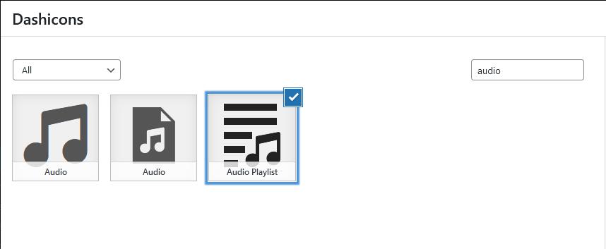 """ponuka ikon z fontu Dashicons na tému """"audio"""""""