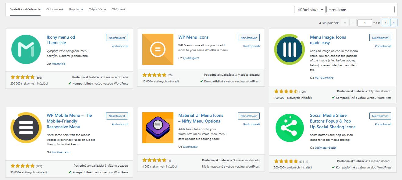 ponuka ikonových pluginov vo WordPresse