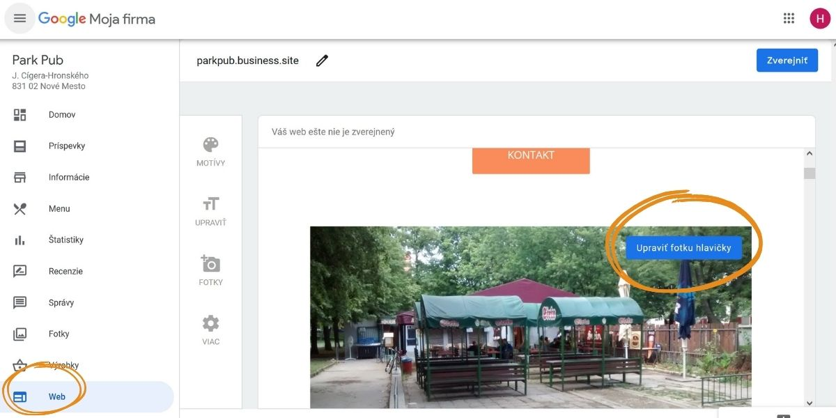 Ak profil Google Moja Firma nezobrazuje správny titulný obrázok, stačí vymeniť titulnú fotku v návrhu webu