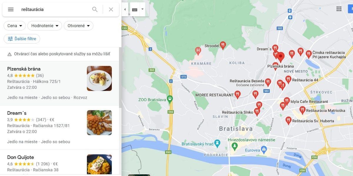 príklad mapy pri vyhľadávaní slova reštaurácia