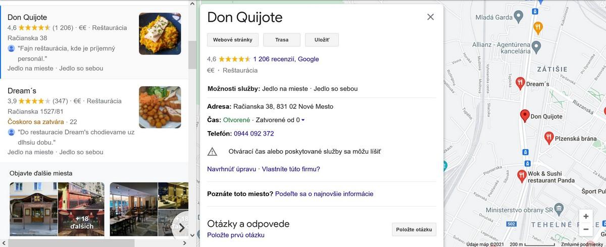 Profil v službe Google Moja Firma obsahuje kontaktné informácie, recenzie, fotky