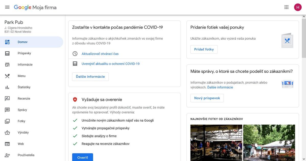 Po prihlásení sa do vášho účtu Google Moja Firma môžete upravovať a pridávať informácie