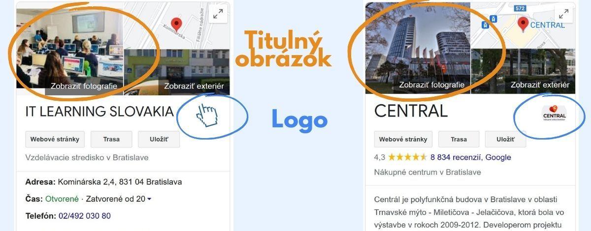 Titulný obrázok a logo sú prvé obrázky, ktoré sa ukážu po vyhľadaní profilu