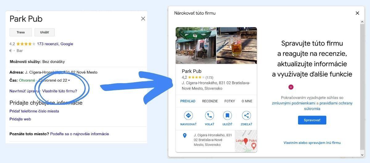 """Ak si chcete nárokovať vlastníctvo profilu v Google moja firma, kliknite na """"Vlastníte túto firmu?"""""""